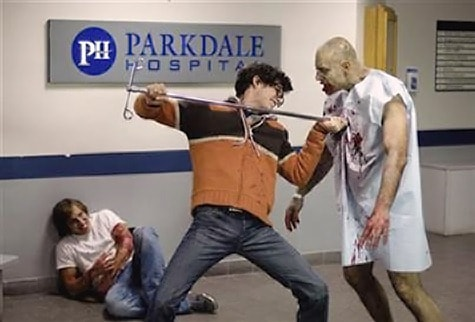 zombies in a hospitably IV pole fight