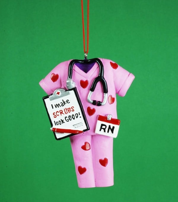 Pink Nurse Scrubs Christmas Ornament