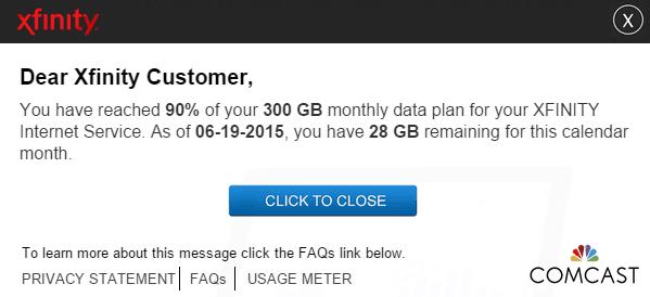 Comcast Data Usage Notification