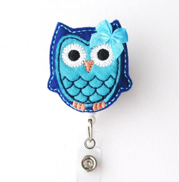 Berry Blue Owl Badge Reel