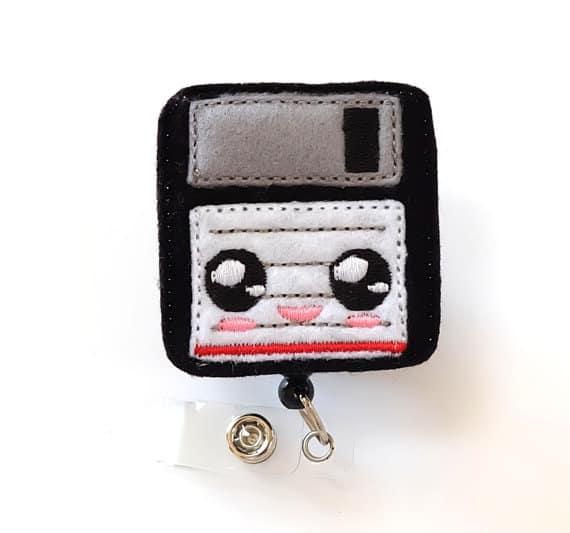 Geeky Floppy Disc Badge Reel