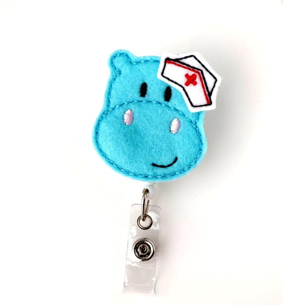 Get Well Hippo Pediatric Nurse Badge Reel
