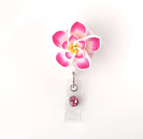 Pink Double Plumeria Badge Reel