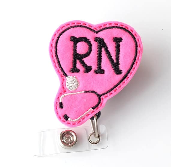 Pink Heart and Stethoscope RN Badge Reel