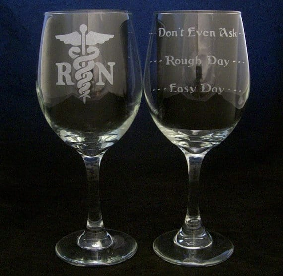 RN Good Day Bad Day Don't Even Ask Wine Glass Etchd dreams
