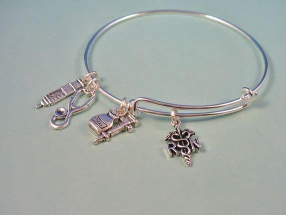RN Style Silver Bangle Bracelet - DesignsBySuzze