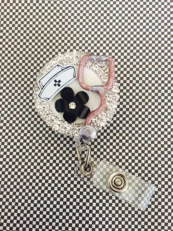Retractable ID Badge Reel Nurse Bling