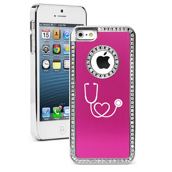 Rhinestone Crystal Bling Hard Case Cover Heart Stethoscope Nurse Doctor - Daylors