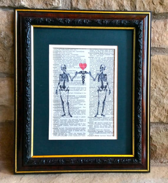 Two Skeletons holding Caduceus with Heart Print MusicLadyGifts