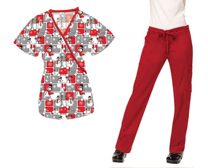 Medgear Womens Nursing Scrubs Printed Tops and Pants SET