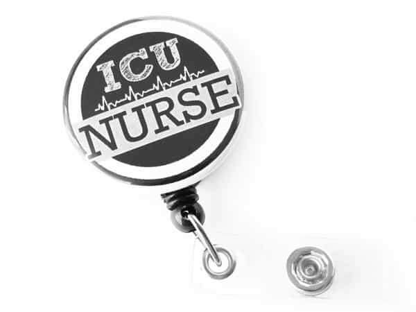 ICU Nurse RN Black Retractable Badge Holder