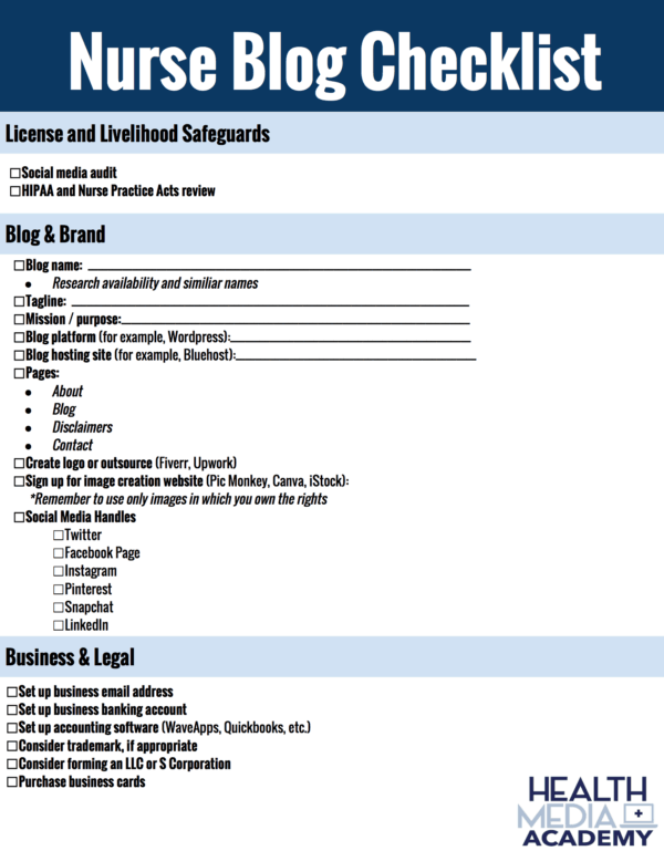 nurse blog checklist