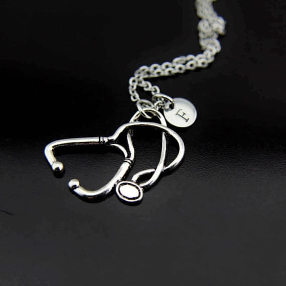 Siver Stethoscope Charm Necklace