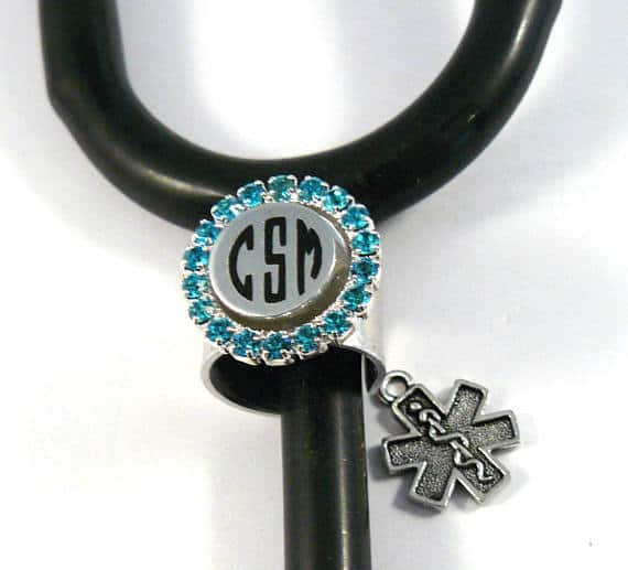 Monogrammed Stethoscope ID Ring-Cuff