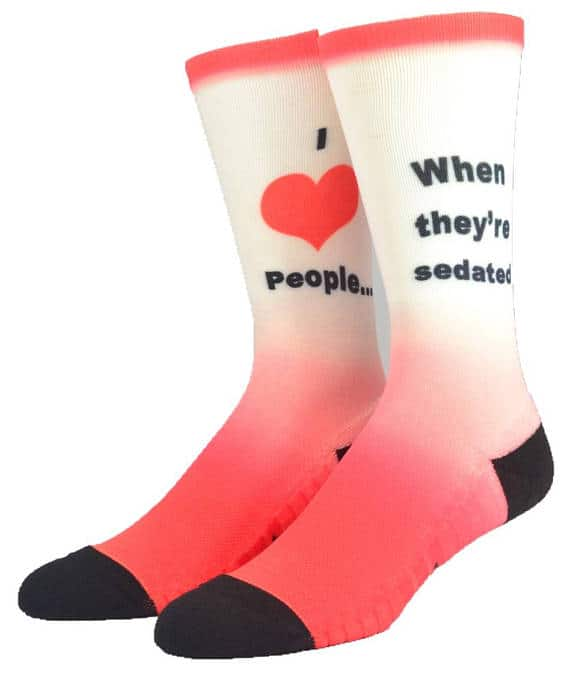 I Love People Joke Socks
