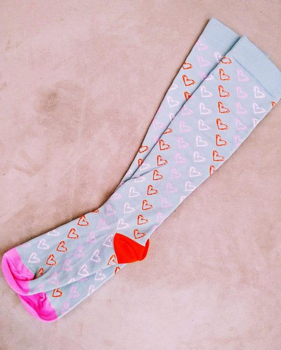 Pink and Orange Compression Socks