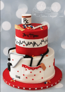 Red and white nurses cake