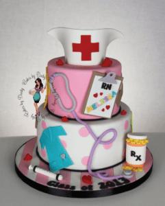 2-tier nurse themed cake