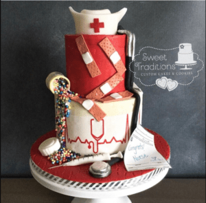 2-tiered Nurse Cake with red and white decorations