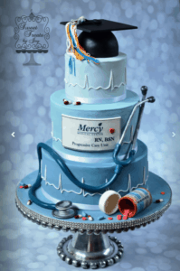A blue themed cake created by Sweet Treats By Joy