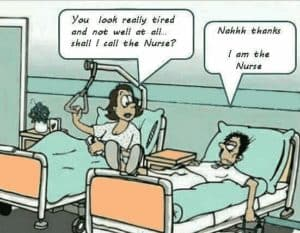 Poor Sick funny nurse cartoon