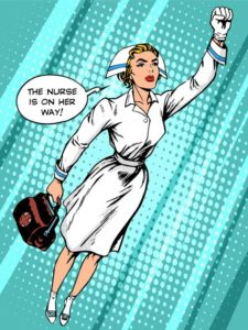 A funny cartoon of a super nurse