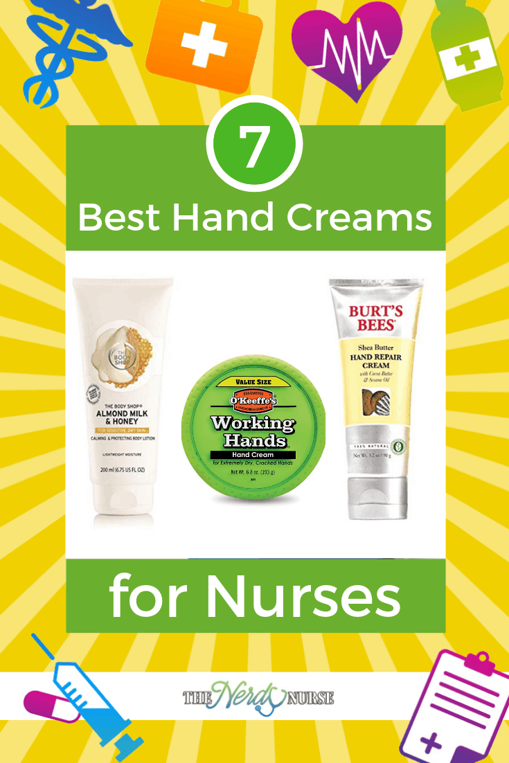 The 7 Best Hand Creams for Nurses. Which hand cream do you use? #thenerdynurse #nurse #nurses #handcream #hands #nursehands #healthy #lotion #shopping #nurseproducts