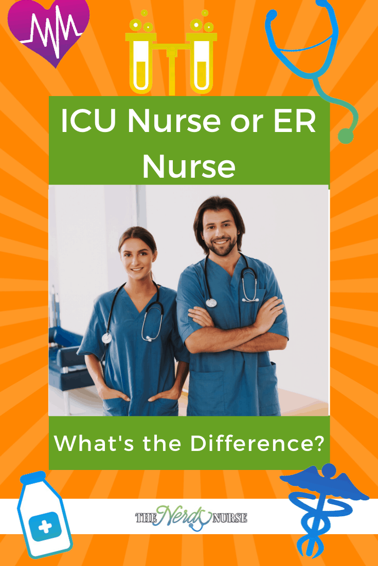 ICU Nurse or ER Nurse: What's the Difference? Let's look at both an ICU nurse and an ER nurse so you can pick which is best for you. #thenerdynurse #nurse #nurses #icu #er #icunurse #ernurse #nursingsepciality