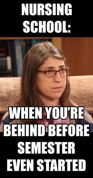 behind before it starts - nursing meme