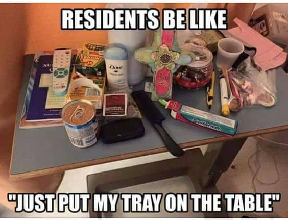 Cluttered Hospital Tray Table Meme